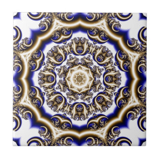 Round blue fractal pattern ceramic tile