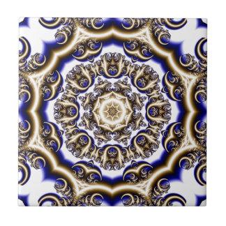 Round blue fractal pattern tile