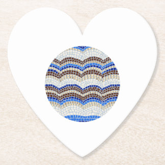 Round Blue Mosaic Heart Paper Coaster