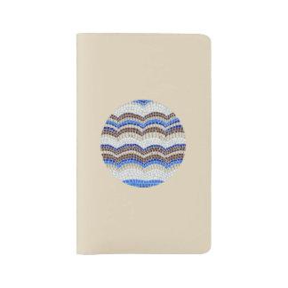 Round Blue Mosaic Large Notebook