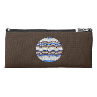 Round Blue Mosaic Pencil Case