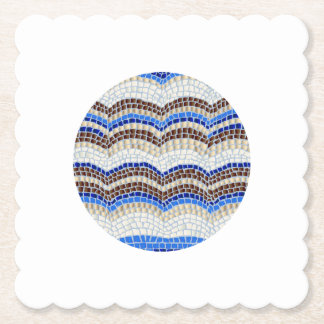 Round Blue Mosaic Scalloped Square Paper Coaster