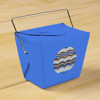 Round Blue Mosaic Take Out Favor Box