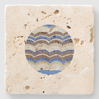 Round Blue Mosaic Travertine Coaster