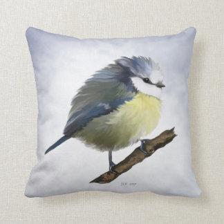 Round Bluetit Throw Pillow