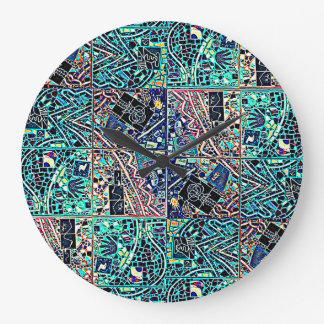 ROUND BRIGHT TURQUOISE ABSTRACT CLOCK