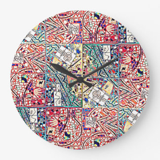 ROUND BRIGHT TURQUOISE AND RED ABSTRACT CLOCK