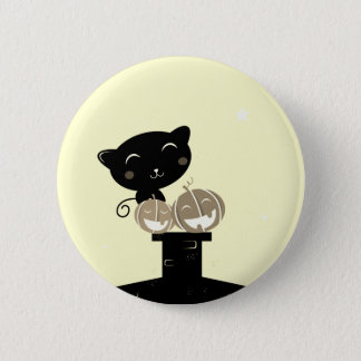 Round button with Black cat