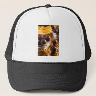 Round candy chocolate close-up trucker hat