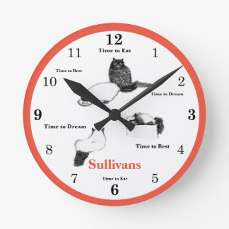 Round Cat Wall Clock, Customizable Name and Color Round Clock