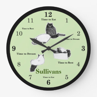 Round Cat Wall Clock, Green with Customizable Name Large Clock