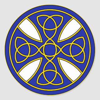 Round Celtic Cross in blue and gold Round Sticker