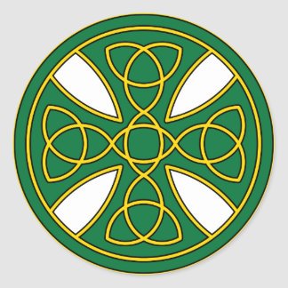 Round Celtic Cross in green and gold Round Sticker
