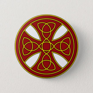 Round Celtic Cross in red and gold 2 Inch Round Button