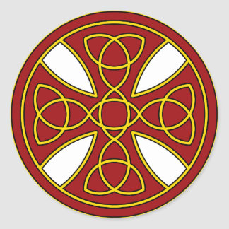 Round Celtic Cross in red and gold Round Sticker