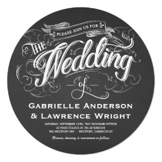 Round Chalkboard Rustic Art Wedding Invitations
