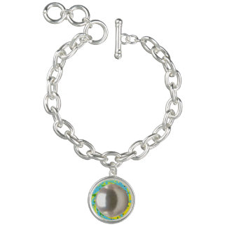 "Round Charm Bracelet ""Pearl Swirl"" blue"