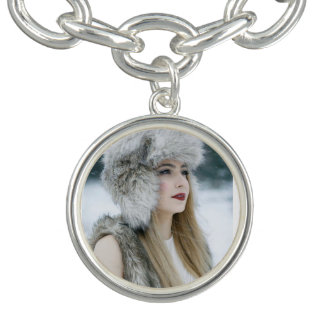 Round Charm Bracelet, Silver Plated. Snow Queen.