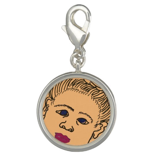 "Round Charm, Silver Plated, ""Baby Girl"" Photo Charm"