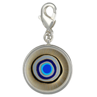 Round Charm-Silver Plated/ Greek Evil Eye Photo Charms