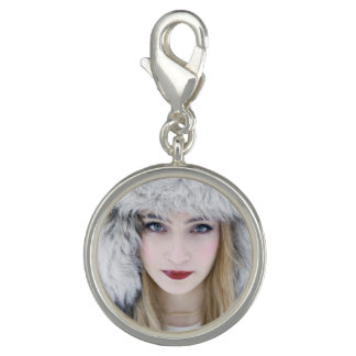 Round Charm, Silver Plated. Snow Queen. Photo Charm