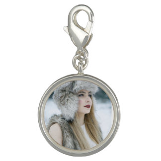 Round Charm, Silver Plated. Snow Queen. Photo Charms