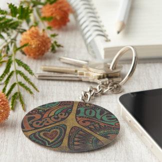 """Round Chaveiro """"Peace Love """" Keychain"""