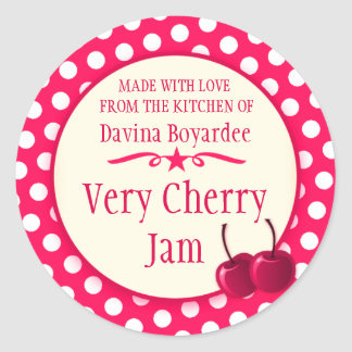 Round cherry red jam stickers