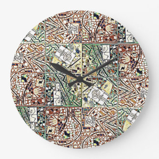 ROUND CHOCOLATE BROWN AND GREEN ABSTRACT CLOCK 2