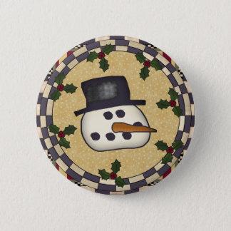 Round Christmas Button -Snowman Face