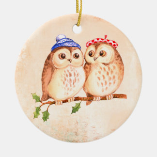Round Christmas Decoration with Cute Pair of Owls
