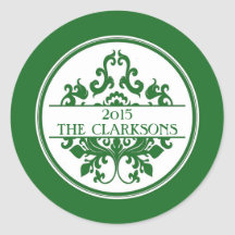 Round Christmas Holiday Tag Label Damask Green Round Sticker