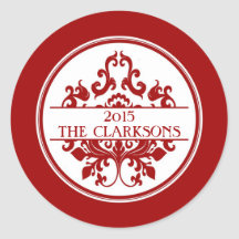 Round Christmas Holiday Tag Label Damask (Red) Round Sticker