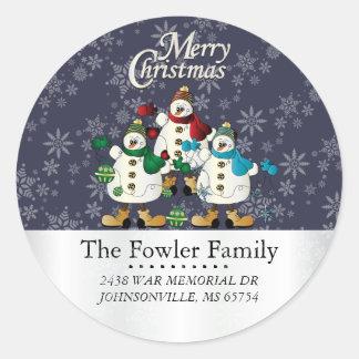 Round Christmas Snowmen Address Labels