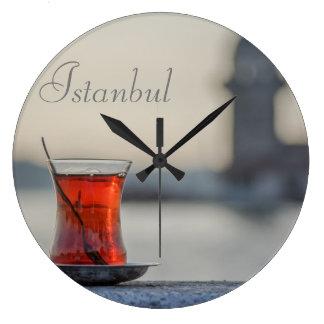 Round Clock. Istanbul - Turkish Tea photography. Large Clock
