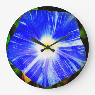 Round clock with a morning glory design.