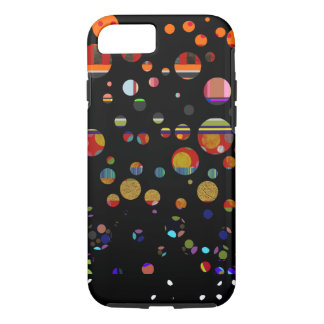 round color spots patterned on black iPhone 7 case