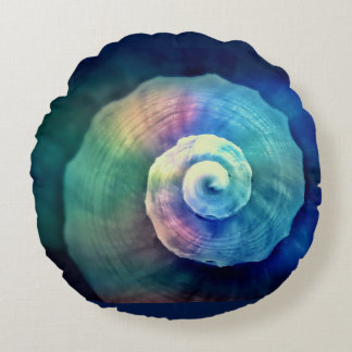 Round Colorful Snail Shell Throw Pillow