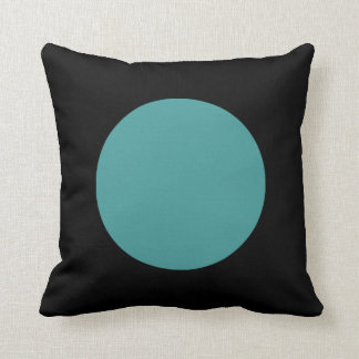 Round Colors - Ocean Green and Black Throw Pillow