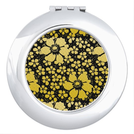 Round Compact Mirror Gold Black Embossed Look