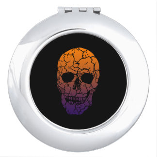 Round Compact Mirror Skull Spook