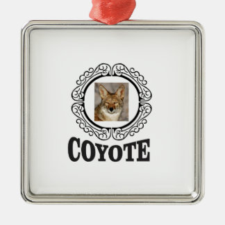 round coyote metal ornament