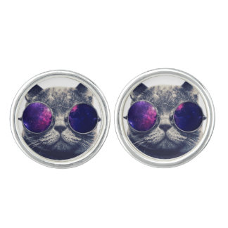 Round Cufflinks, Silver Plated Cufflinks
