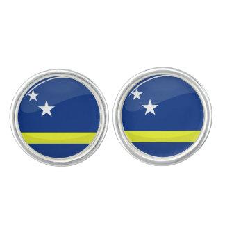 Round Curacao flag Cuff Links