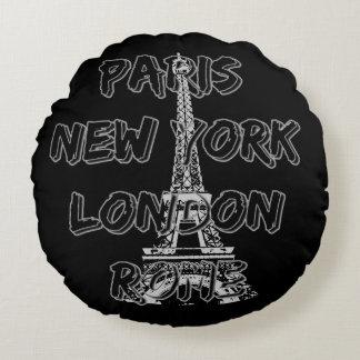Round cushion Paris-Nyc-London-Rome