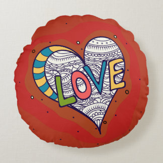 Round cushion Red Love
