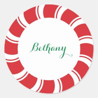 Round Custom Name Badge Stickers Christmas Holiday