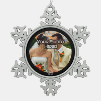 Round Custom Photo/Year Snowflake Pewter Snowflake Ornament