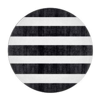 ROUND CUTTING BOARD GLASS Chic Black White Stripes