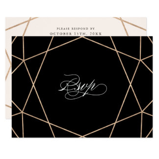 Round Diamond Gemstone Geometric Wedding RSVP Card
